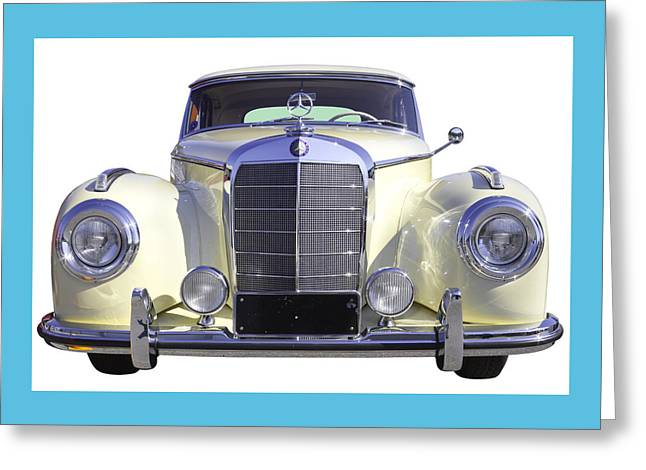 Old Auto Greeting Cards - White Mercedes Benz 300 Luxury Car Greeting Card by Keith Webber Jr
