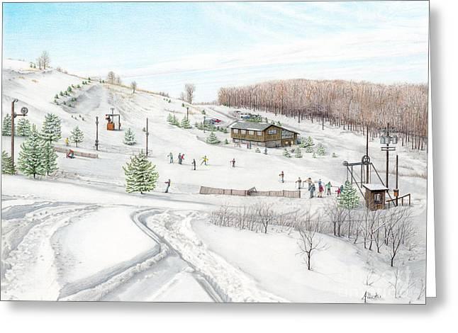 Ski Drawings Greeting Cards - White Mountain Resort Greeting Card by Albert Puskaric