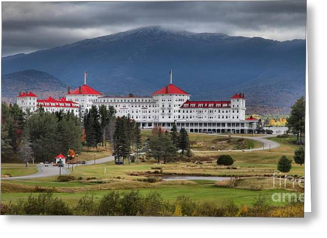Famous Hotel Greeting Cards - White Mountains Omni Resort Greeting Card by Adam Jewell