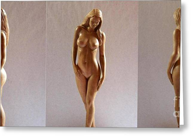 Art Sale Sculptures Greeting Cards - White Naked - Wood Sculpture Greeting Card by Carlos Baez Barrueto