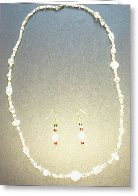Long Necklace Jewelry Greeting Cards - White Necklace II Greeting Card by Karen Jensen