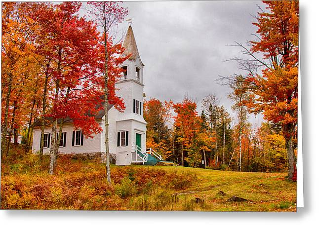 """autumn Foliage New England"" Greeting Cards - White New Hampshire church Greeting Card by Jeff Folger"