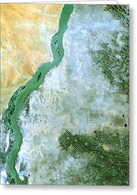 Satellite Greeting Cards - White Nile Sudan Greeting Card by Anonymous