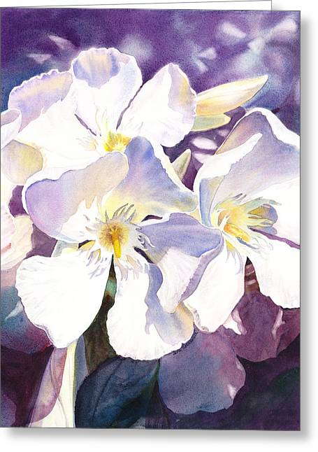 Celebration Paintings Greeting Cards - White Oleander Greeting Card by Irina Sztukowski