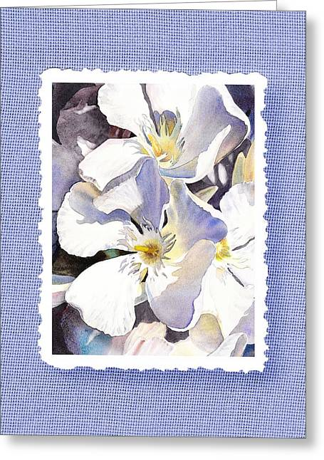 Handmade Paper Greeting Cards - White Oleander On Vintage Blue Greeting Card by Irina Sztukowski