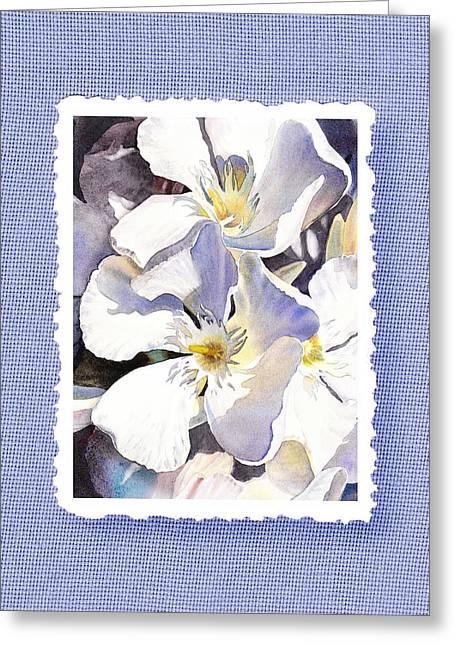 White Oleander On Vintage Blue Greeting Card by Irina Sztukowski