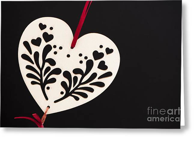 Cut-outs Greeting Cards - White on Black Greeting Card by Anne Gilbert