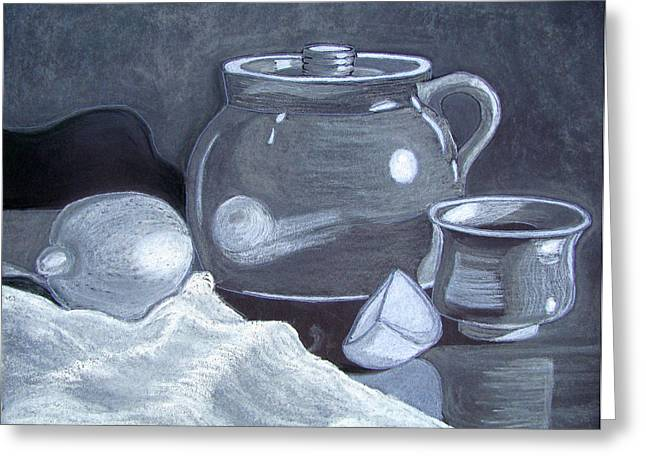 Crocks Drawings Greeting Cards - White on Black Still Life Greeting Card by Linda Williams