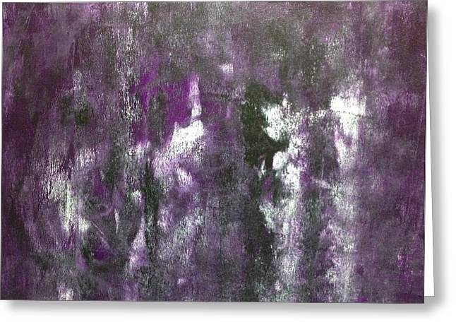 Completion Greeting Cards - White on Purple with Black Greeting Card by Ross Girardi