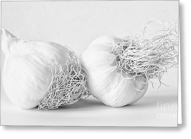 Alliums Greeting Cards - Two bulbs of Garlic Greeting Card by Janet Burdon