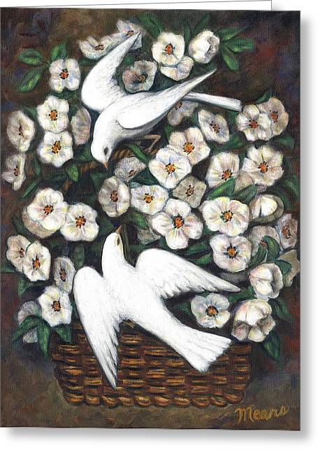White On White Greeting Card by Linda Mears