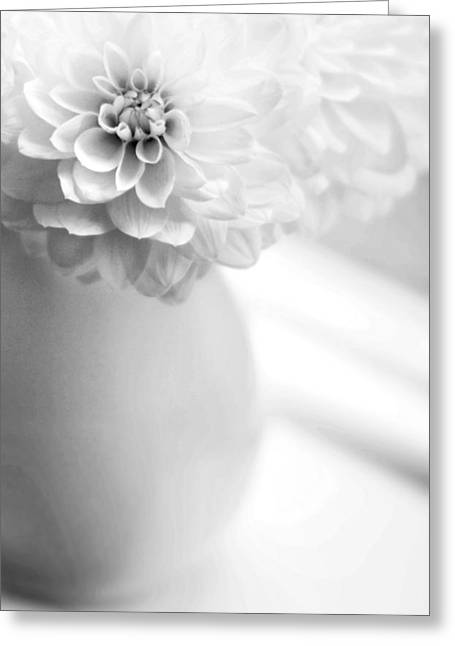 Dahlias Greeting Cards - White on White Greeting Card by Rebecca Cozart