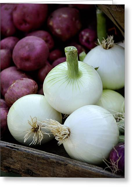 Home Grown Greeting Cards - White Onions and Red Potatoes Greeting Card by Julie Palencia