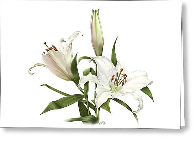 Loop De Loop Greeting Cards - White Oriental Lily Detail Greeting Card by Artellus Artworks