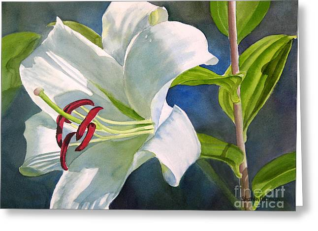 White Paintings Greeting Cards - White Oriental Lily Greeting Card by Sharon Freeman