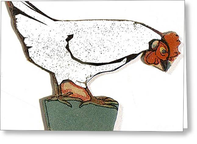Barn Yard Drawings Greeting Cards - White Paper Chicken  Greeting Card by Pierpont Bay Archives