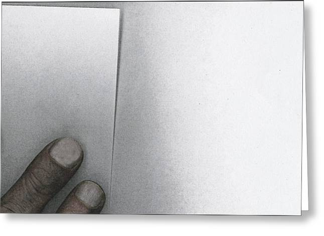 White Paper Dirty Fingers Greeting Card by Bob RL Evans