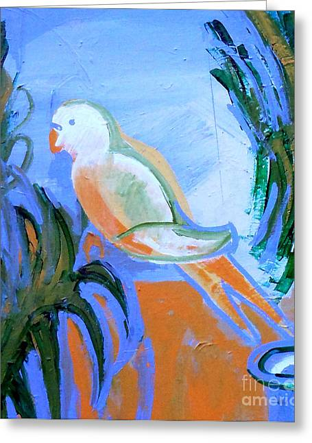 Ledge Greeting Cards - White Parakeet Greeting Card by Genevieve Esson