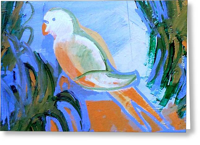 Plant Stretched Canvas Greeting Cards - White Parakeet Greeting Card by Genevieve Esson