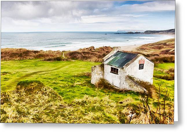 Sand Pattern Greeting Cards - White Park Bay Cottage Greeting Card by Nigel R Bell
