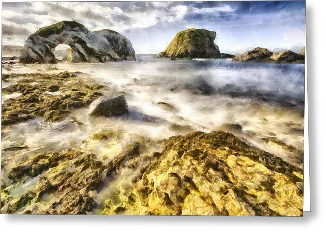 Dap Greeting Cards - White Park Bay Sea Arch Greeting Card by Nigel R Bell