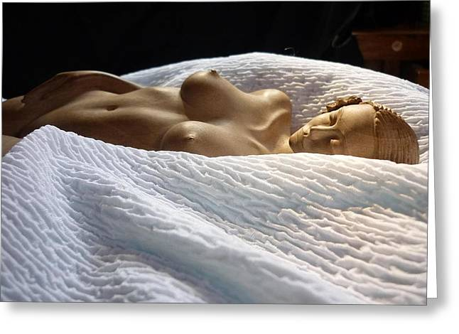 Body Sculptures Greeting Cards - White Passion Greeting Card by Carlos Baez Barrueto