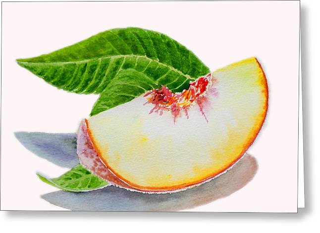 Country Kitchen Greeting Cards - White Peach Slice  Greeting Card by Irina Sztukowski