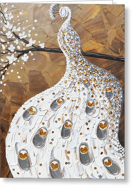 Artist Christine Krainock Greeting Cards - White Peacock Greeting Card by Christine Krainock