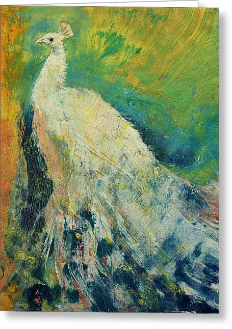 Peafowl Greeting Cards - White Peacock Greeting Card by Michael Creese