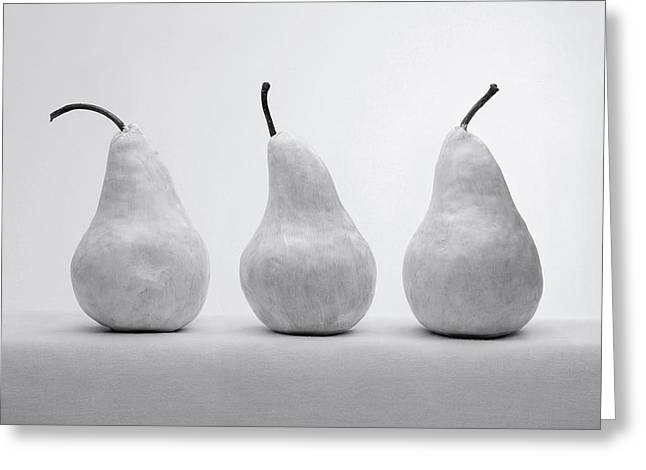 Pear Art Pyrography Greeting Cards - White Pears Greeting Card by Krasimir Tolev