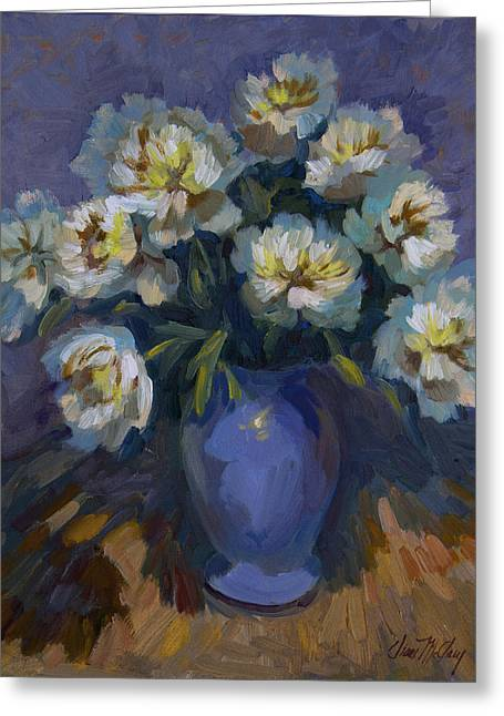 White Paintings Greeting Cards - White Peonies Greeting Card by Diane McClary