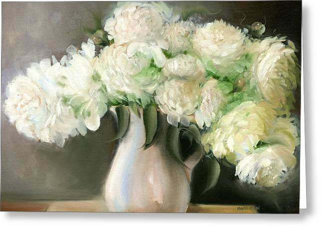 Sunlight On Flowers Greeting Cards - White Peonies Greeting Card by Melissa Herrin