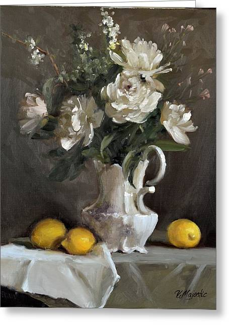 Lemon Art Greeting Cards - White Peonies Greeting Card by Viktoria K Majestic