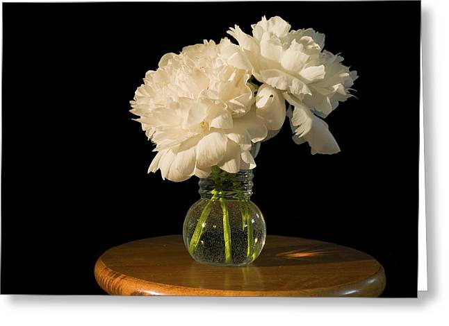 Glass Vase Photographs Greeting Cards - White Peony Flowers Greeting Card by Keith Webber Jr