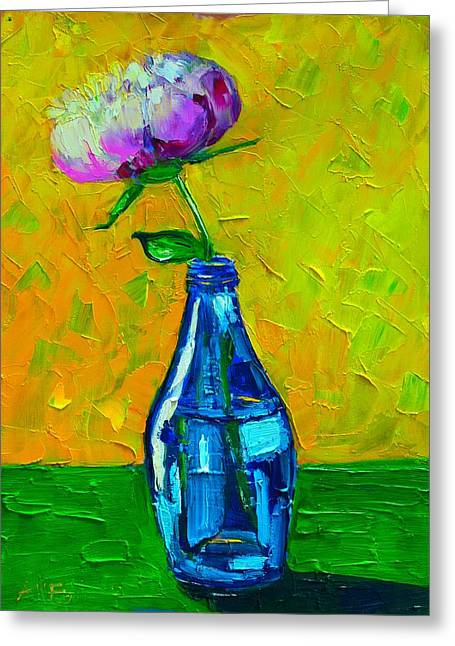 Interior Still Life Greeting Cards - White Peony Into A Blue Bottle Greeting Card by Ana Maria Edulescu