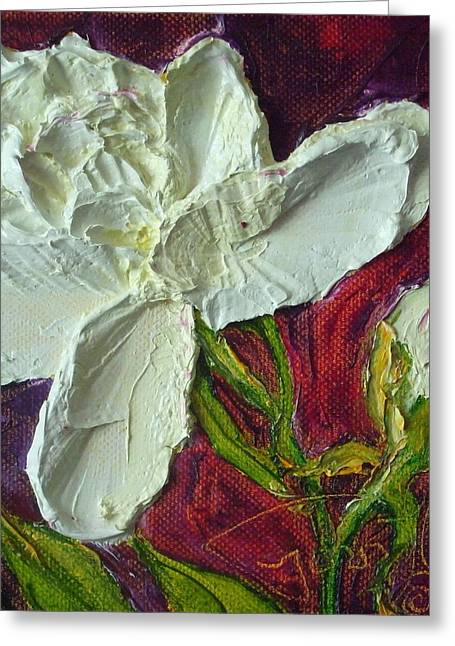Paris Wyatt Llanso Greeting Cards - White Peony Greeting Card by Paris Wyatt Llanso
