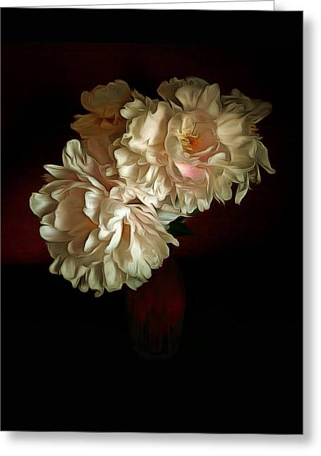 Old Masters Greeting Cards - White Peony Roses Greeting Card by Bernie  Lee
