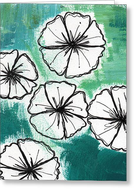 Blue Flowers Mixed Media Greeting Cards - White Petunias- Floral Abstract Painting Greeting Card by Linda Woods