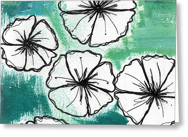 White Petunias- Floral Abstract Painting Greeting Card by Linda Woods