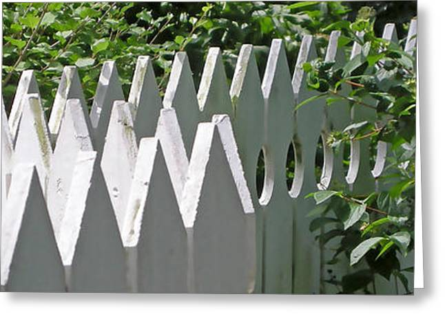 White Digital Art Greeting Cards - White Picket Fence 5 Greeting Card by Marsha Charlebois