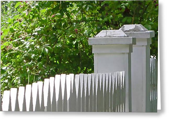 White Digital Art Greeting Cards - White Picket Fence 7 Greeting Card by Marsha Charlebois