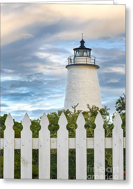 North Sea Pyrography Greeting Cards - White Picket Fence and Lighthouse Greeting Card by Dan Waters