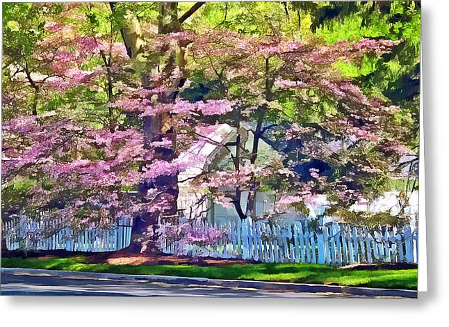 Suburban Greeting Cards - White Picket Fence by Flowering Trees Greeting Card by Susan Savad