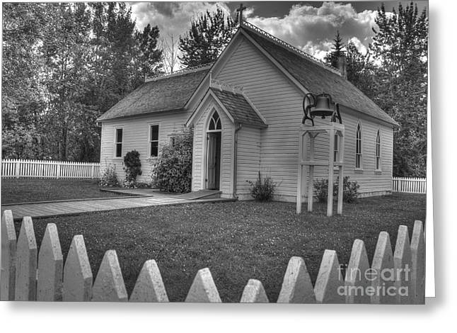 Tiny Whites Greeting Cards - White Picket Fence Church Greeting Card by Darcy Michaelchuk