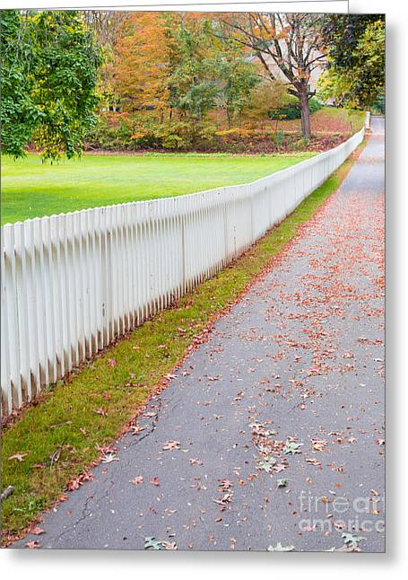 Deerfield Greeting Cards - White Picket Fence Deerfield MA Greeting Card by Edward Fielding