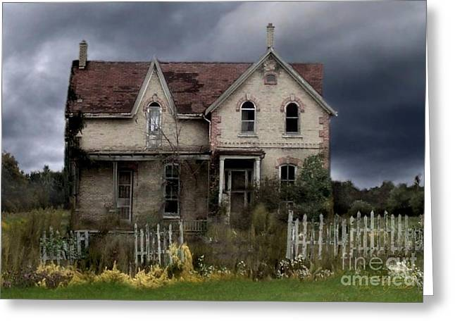 Haunted House Digital Art Greeting Cards - White picket Fence Greeting Card by Tom Straub