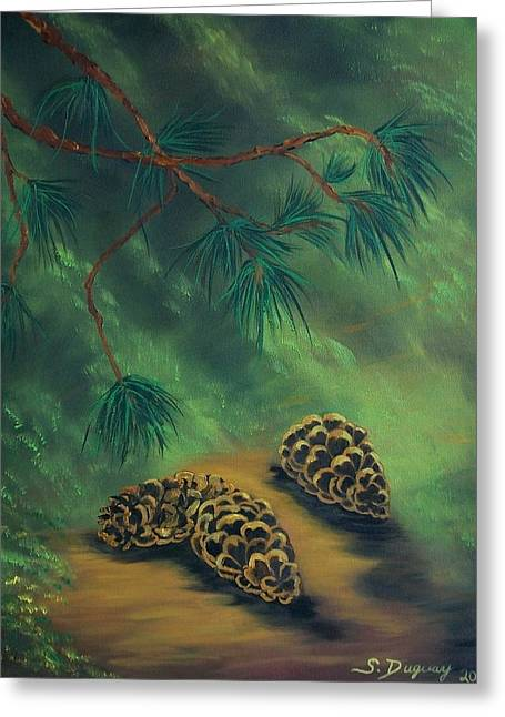 White Pine  And Cones Greeting Card by Sharon Duguay