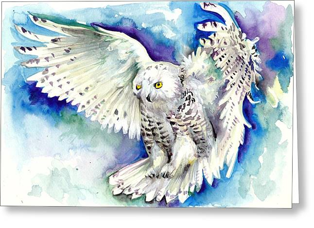 Snowy Night Night Greeting Cards - White Polar Owl - Wizard Dynamic White Owl Greeting Card by Tiberiu Soos