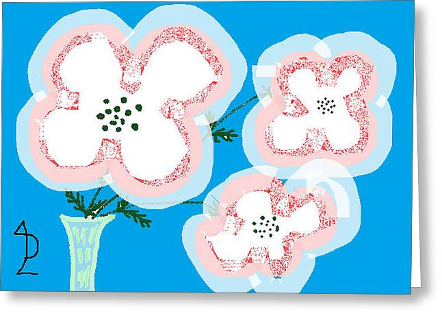 Vase Of Flowers Drawings Greeting Cards - White Poppies Greeting Card by Anita Dale Livaditis