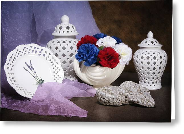 Compote Greeting Cards - White Porcelain Still Life Greeting Card by Tom Mc Nemar